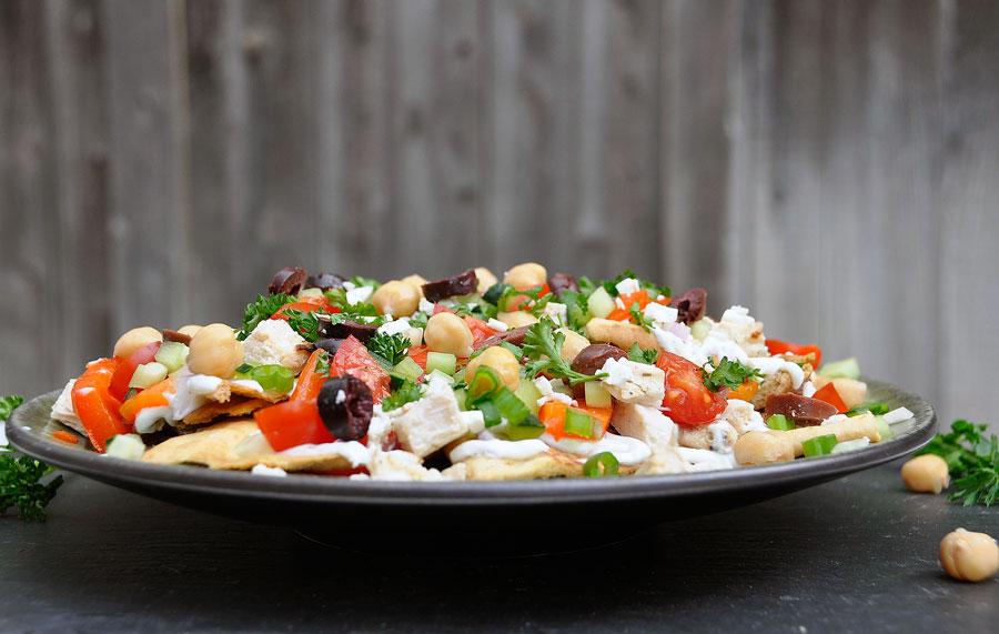 Greek Nachos Recipe + Homemade Baked Pita Chips - Rockin Mama™