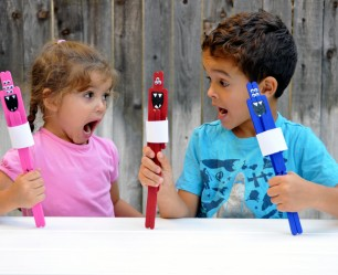 DIY Popsicle Stick Monster Puppets