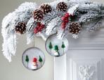Mason Jar Lid Snowy Scene Ornament